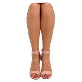 Sandałki na szerokim obcasie różowe pink 3