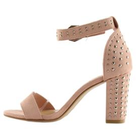 Sandałki na szerokim obcasie różowe pink 4