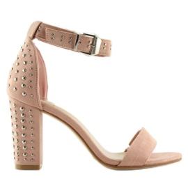 Sandałki na szerokim obcasie różowe pink 7