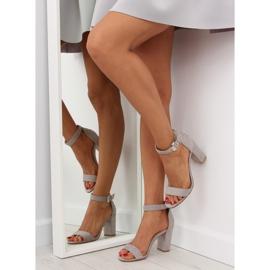 Sandałki na szerokim obcasie szare grey 6