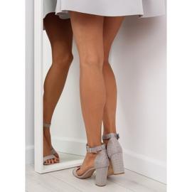 Sandałki na szerokim obcasie szare grey 1
