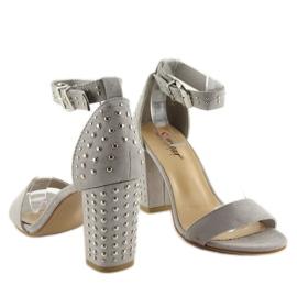 Sandałki na szerokim obcasie szare grey 5