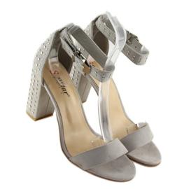 Sandałki na szerokim obcasie szare grey 2