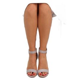 Sandałki na szerokim obcasie szare grey 3