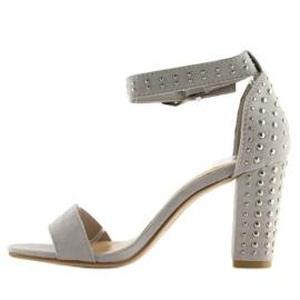 Sandałki na szerokim obcasie szare grey 4