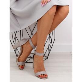 Sandałki na szerokim obcasie szare grey 7