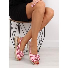Sandałki espadryle w paski czerwone red 4