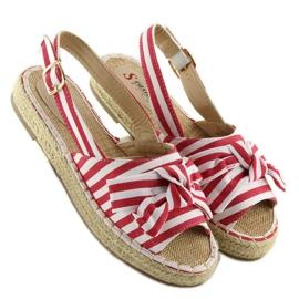 Sandałki espadryle w paski czerwone red 1