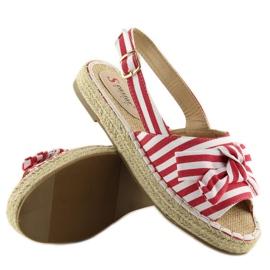 Sandałki espadryle w paski czerwone red 3