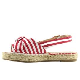 Sandałki espadryle w paski czerwone red 5