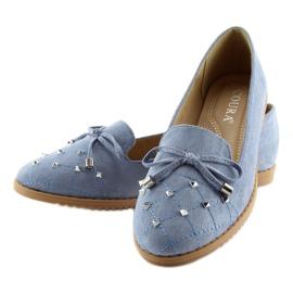 Mokasyny lordsy niebieskie 2568 blue 2
