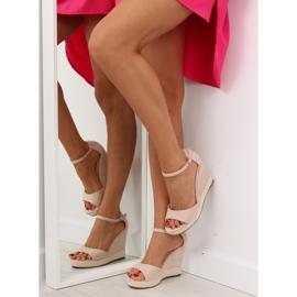 Sandałki na koturnie espadryle beżowe beige beżowy 1