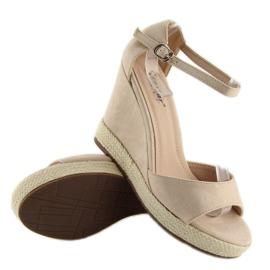 Sandałki na koturnie espadryle beżowe beige beżowy 2