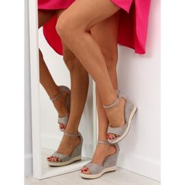 Sandałki na koturnie espadryle szare grey 1