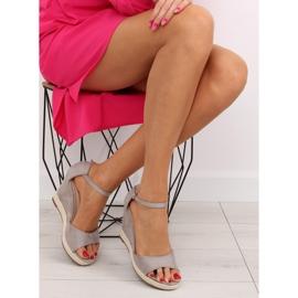 Sandałki na koturnie espadryle szare grey 2