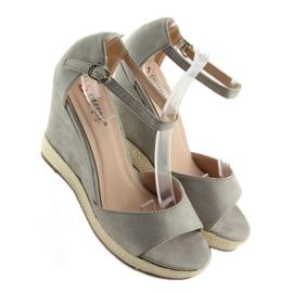 Sandałki na koturnie espadryle szare grey 5