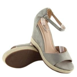 Sandałki na koturnie espadryle szare grey 3