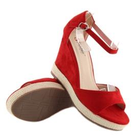 Sandałki na koturnie espadryle czerwone red 2
