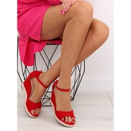 Sandałki na koturnie espadryle czerwone red 3