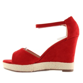 Sandałki na koturnie espadryle czerwone red 4