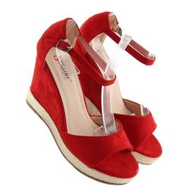 Sandałki na koturnie espadryle czerwone red 5