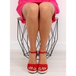 Sandałki na koturnie espadryle czerwone red 6