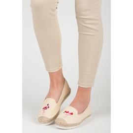 Bestelle Espadryle z flamingiem brązowe 1