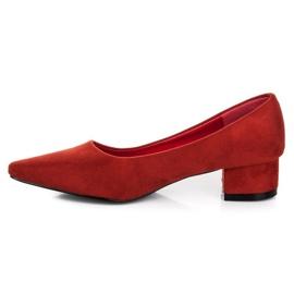 Best Shoes Zamszowe czółenka na niskim obcasie czerwone 1