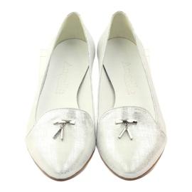 Lordsy balerinki ze srebrną ozdobą Angello szare 4