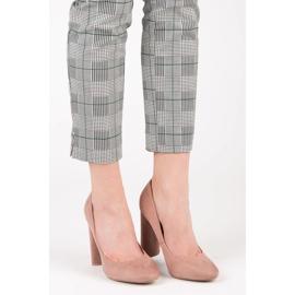 Ideal Shoes Eleganckie czółenka na słupku różowe 1
