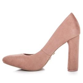Ideal Shoes Eleganckie czółenka na słupku różowe 3