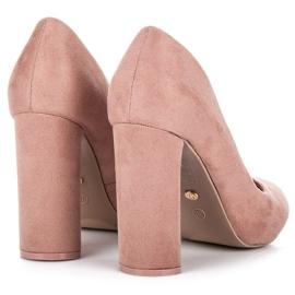 Ideal Shoes Eleganckie czółenka na słupku różowe 4