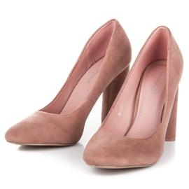 Ideal Shoes Eleganckie czółenka na słupku różowe 5