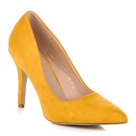 Żółte zamszowe szpilki 4