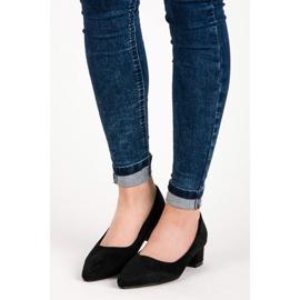 Best Shoes Zamszowe czółenka na niskim obcasie czarne 2