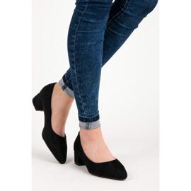 Best Shoes Zamszowe czółenka na niskim obcasie czarne 3