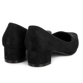 Best Shoes Zamszowe czółenka na niskim obcasie czarne 5