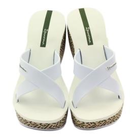 Klapki damskie koturno Ipanema 82288 białe brązowe zielone 4