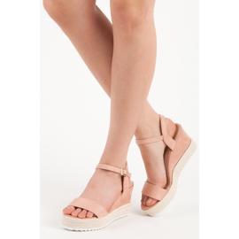 Seastar Sandały espadryle na koturnie różowe 5