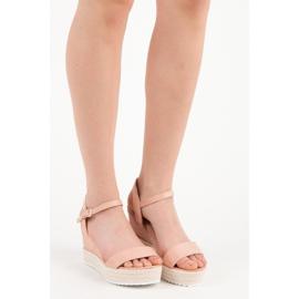 Seastar Sandały espadryle na koturnie różowe 4