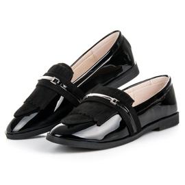 Ideal Shoes Czarne lakierowane mokasyny 2