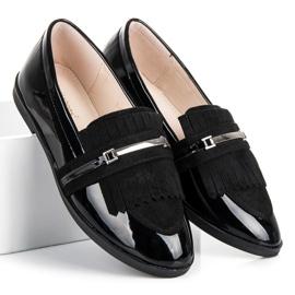 Ideal Shoes Czarne lakierowane mokasyny 1