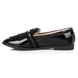 Ideal Shoes Czarne lakierowane mokasyny 3