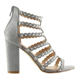 Sandałki na obcasie z ćwiekami szare grey 1