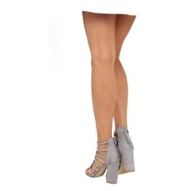 Sandałki na obcasie z ćwiekami szare grey 4