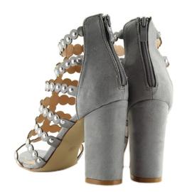Sandałki na obcasie z ćwiekami szare grey 7