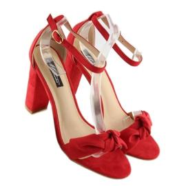 Sandałki na obcasie czerwone 118-11 red 4