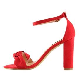 Sandałki na obcasie czerwone 118-11 red 1