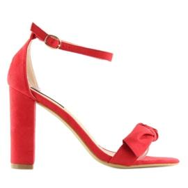 Sandałki na obcasie czerwone 118-11 red 6
