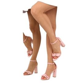 Sandałki na obcasie różowe 118-11 pink 5